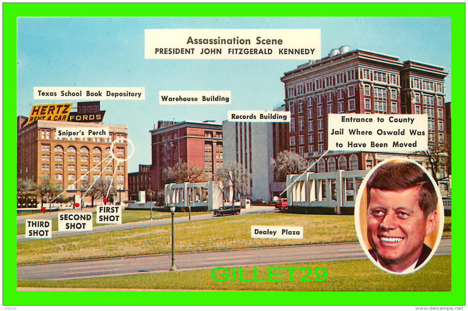 DALLAS, TX - ASSASSINATION SECNE OF PRESIDENT JOHN FITZGERALD KENNEDY IN 1963 -  BAXTER LANE POST CARD CO - - Dallas