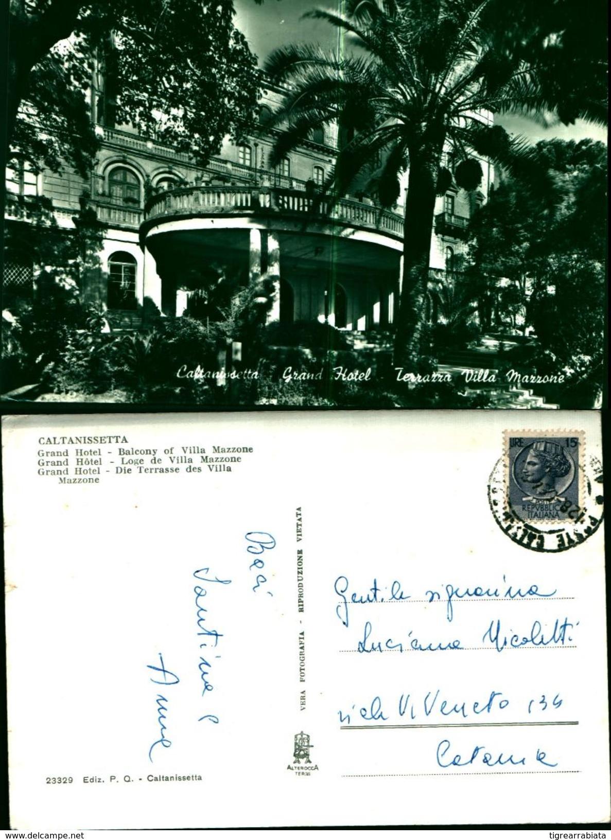 7068a)cartolina  Caltanisetta- Grand Hotel  Terrazza Villa Mazzone EdizP.Q. - Caltanissetta