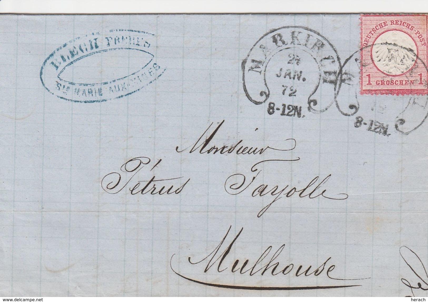 France Alsace Cachet Fer à Cheval Markirch Sur Lettre 1872 - Marcophilie (Lettres)