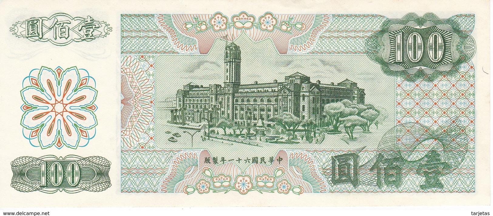 BILLETE DE TAIWAN DE 100 YUAN DEL AÑO 1972 EN CALIDAD EBC (XF)   (BANKNOTE) - Taiwan