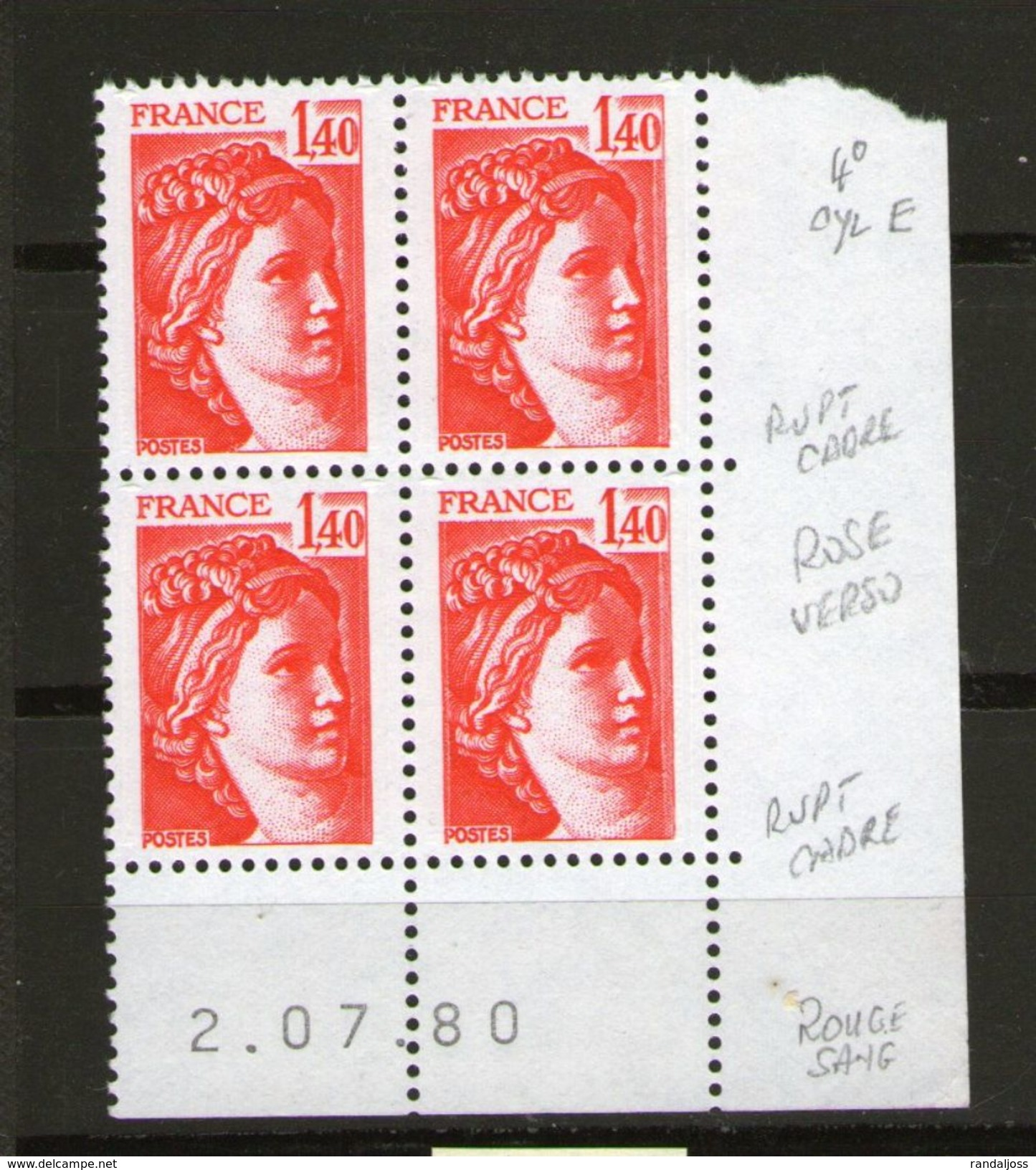 Sabine 2102**_2/7/80_4° Tirage De 3 Jours_rouge Vif - Dated Corners