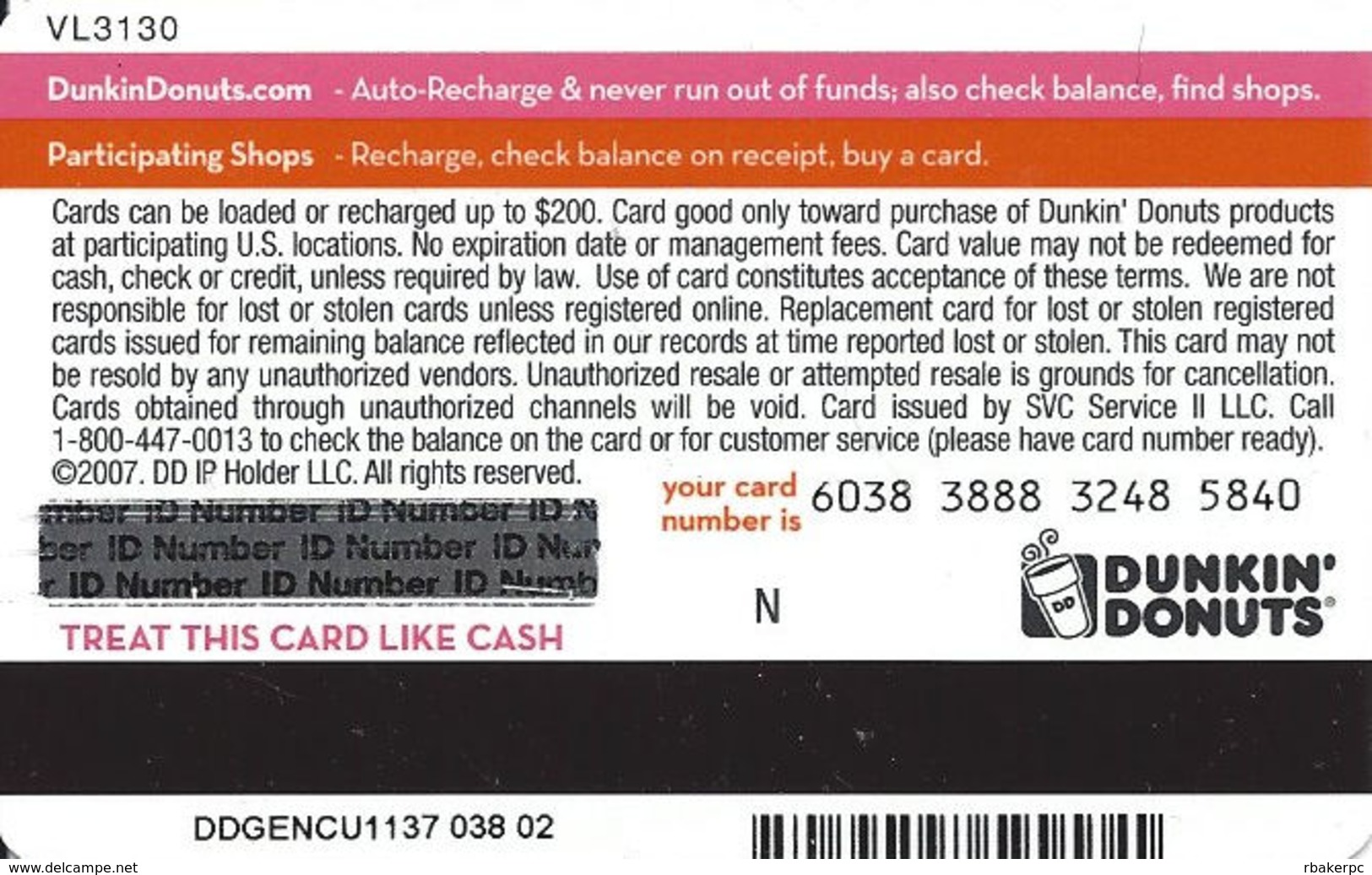 Dunkin Donuts Gift Card Copyright 2007 - Gift Cards