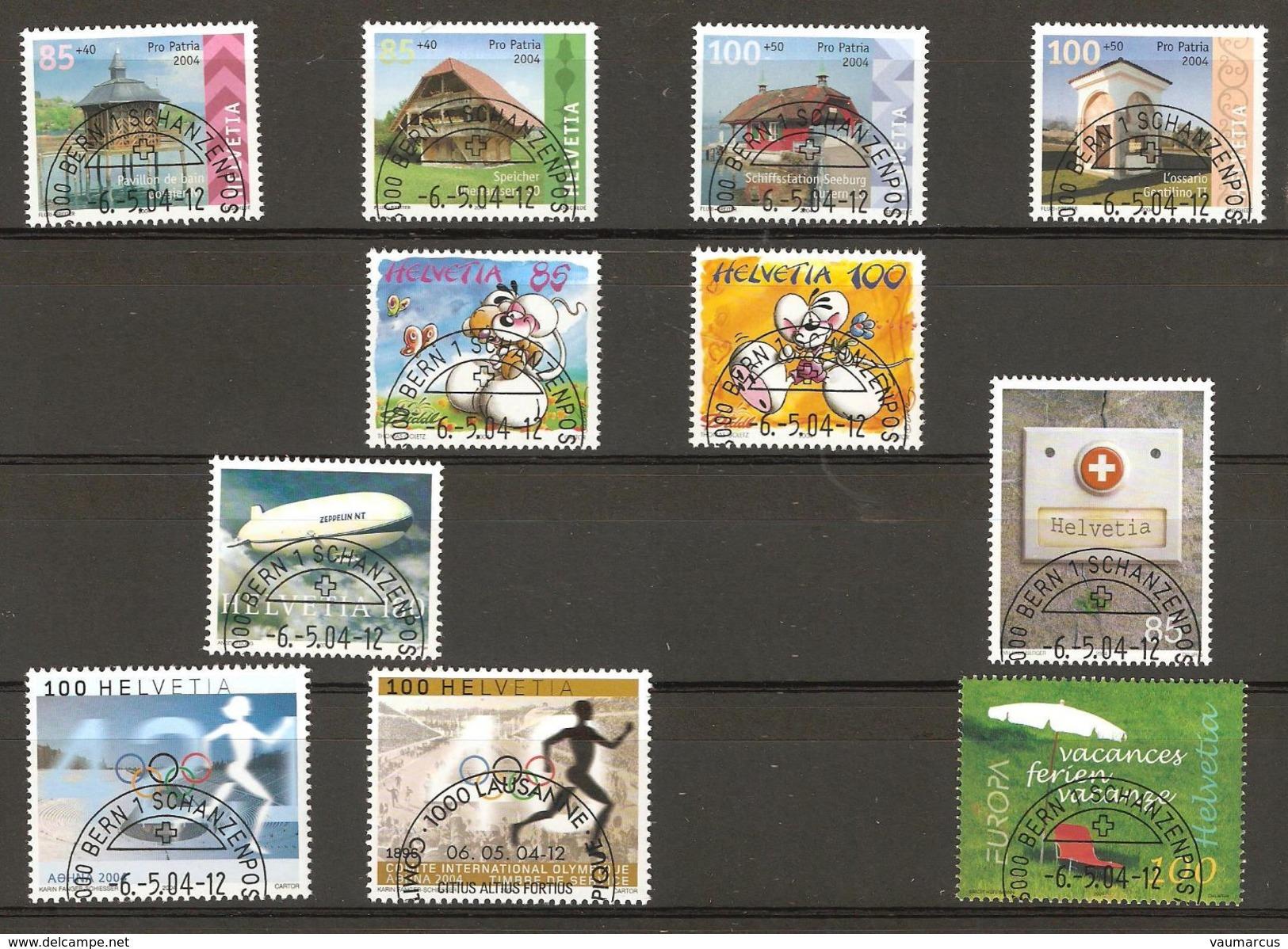 2004 Année Complète Obl. Demi-lune 1er Jour BERN 1 SCHANZENPOST SBK 140,90 Voir 5 Scans - Switzerland