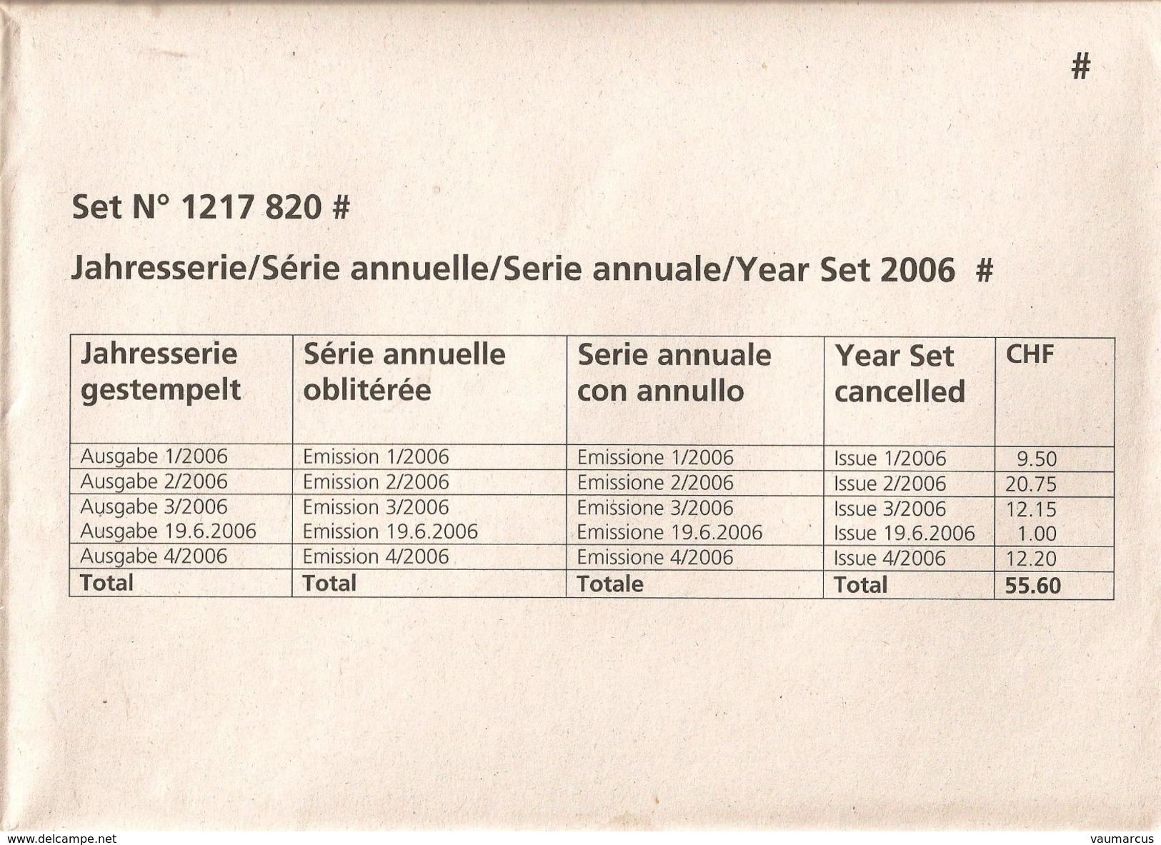 2006 Année Complète Obl. Demi-lune 1er Jour BERN 1 SCHANZENPOST SBK 164,- Voir 5 Scans - Switzerland