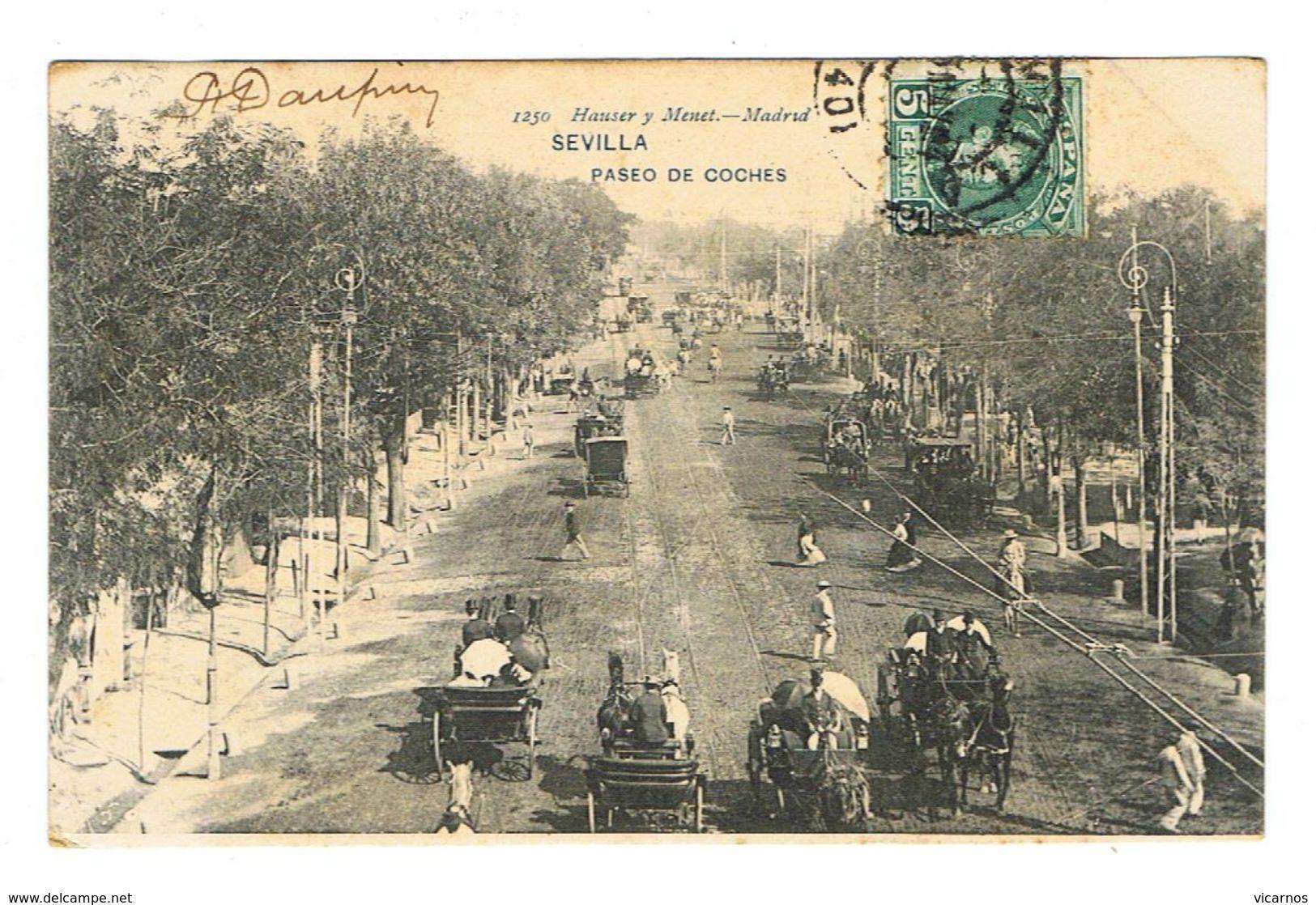 CPA ESPAGNE SEVILLA Paseo De Coches - Sevilla