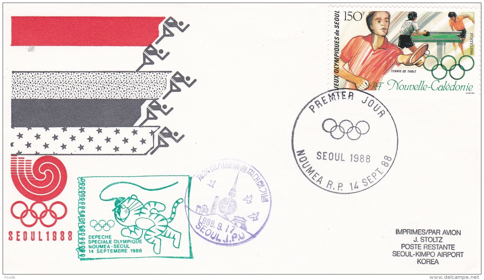 Nouvelle-Caledonie Flight Cover/FDC 1988 Seoul Depeche Speciale Olympique  (DD7-5) - Zomer 1988: Seoel