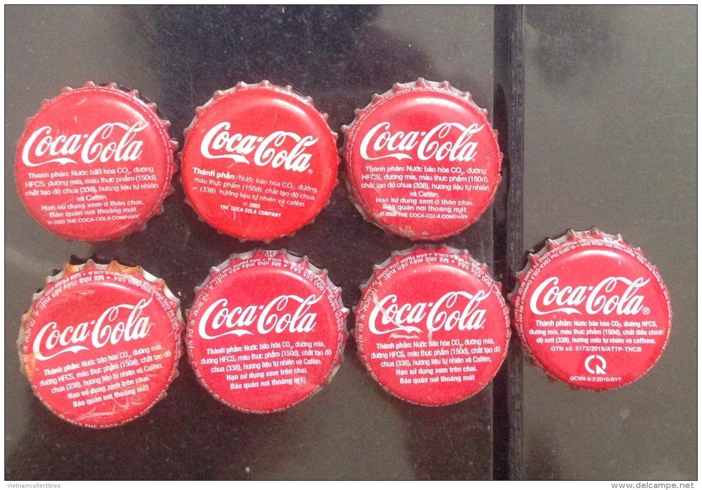 Lot Of 7 Different Vietnam Viet Nam Coca Coke Crown Cap / Kronkorken / Chapa / Tappi / Capsule - Casquettes
