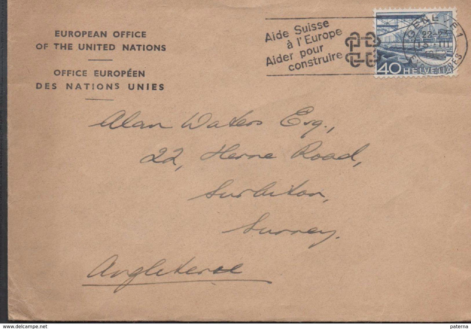 3181   Carta Geneve 1952 Suiza Flamme , Ayuda A Europa Ayuda A Construir - Suiza