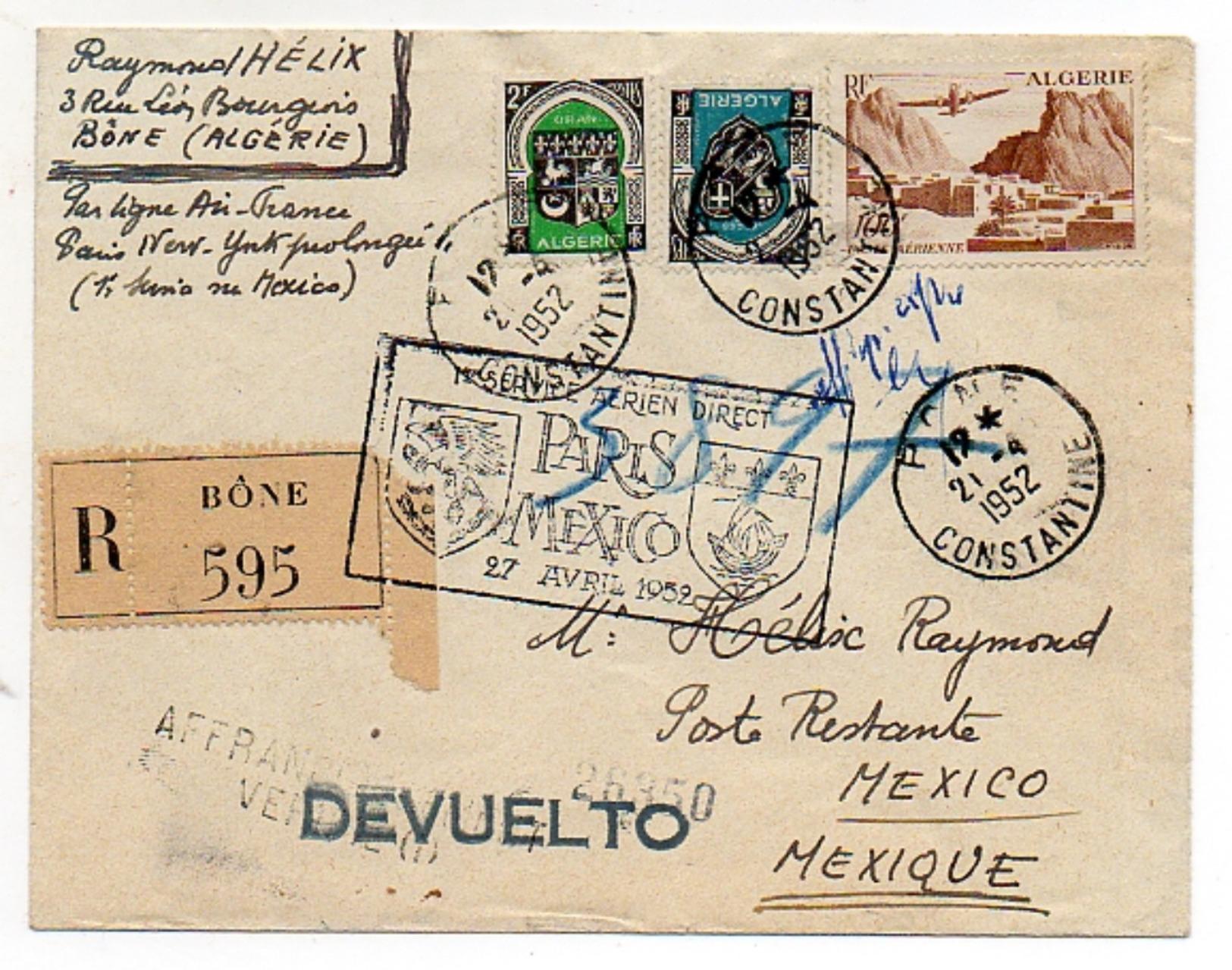 ALGERIE - Poste Aérienne (1er Service Aérien Paris-Mexico) - Poste Aérienne