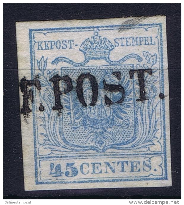"""Osterreich Lombardei Venetien 1850 Mi 5 Annullo Di Posta Militare:""""F.POST Sa Nr 10 C  RRR  Signed/ Signé/signiert/ Appro - 1850-1918 Imperium"""