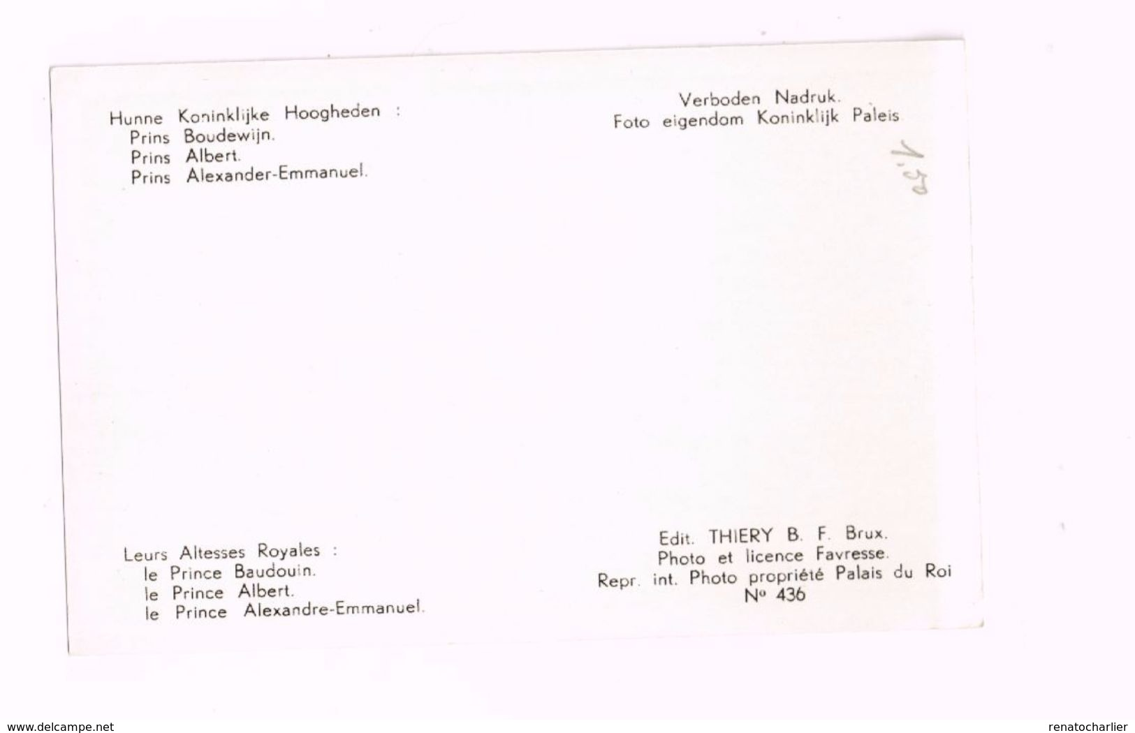 Leurs Altesses Royales Le Prince Baudouin,le Prince Albert,le Prince Alexandre-Emmanuel - Familles Royales