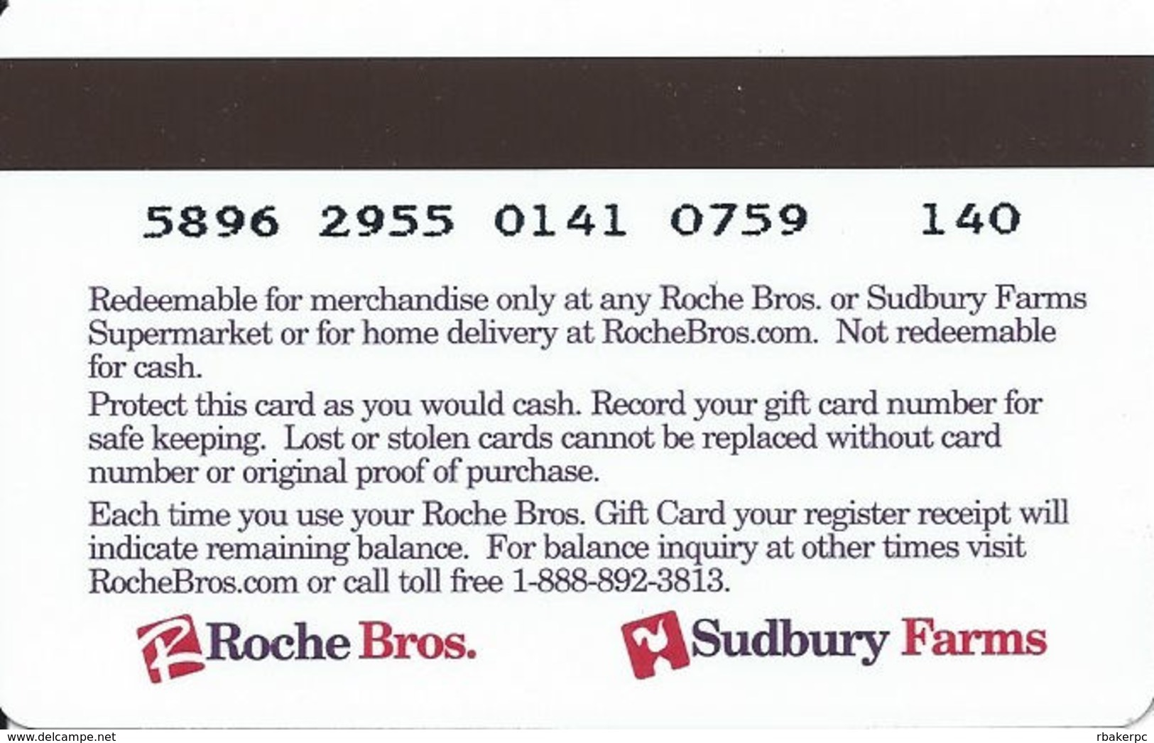 Roche Bros. / Sudbury Farms Food Stores Gift Card - Gift Cards