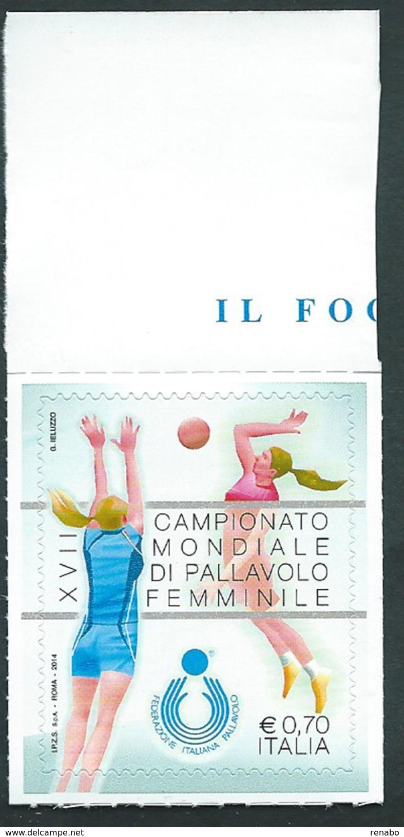Italia, Italy 2014; Campionati Pallavolo Femminile. Bordo Superiore. Nuovo. - Pallavolo