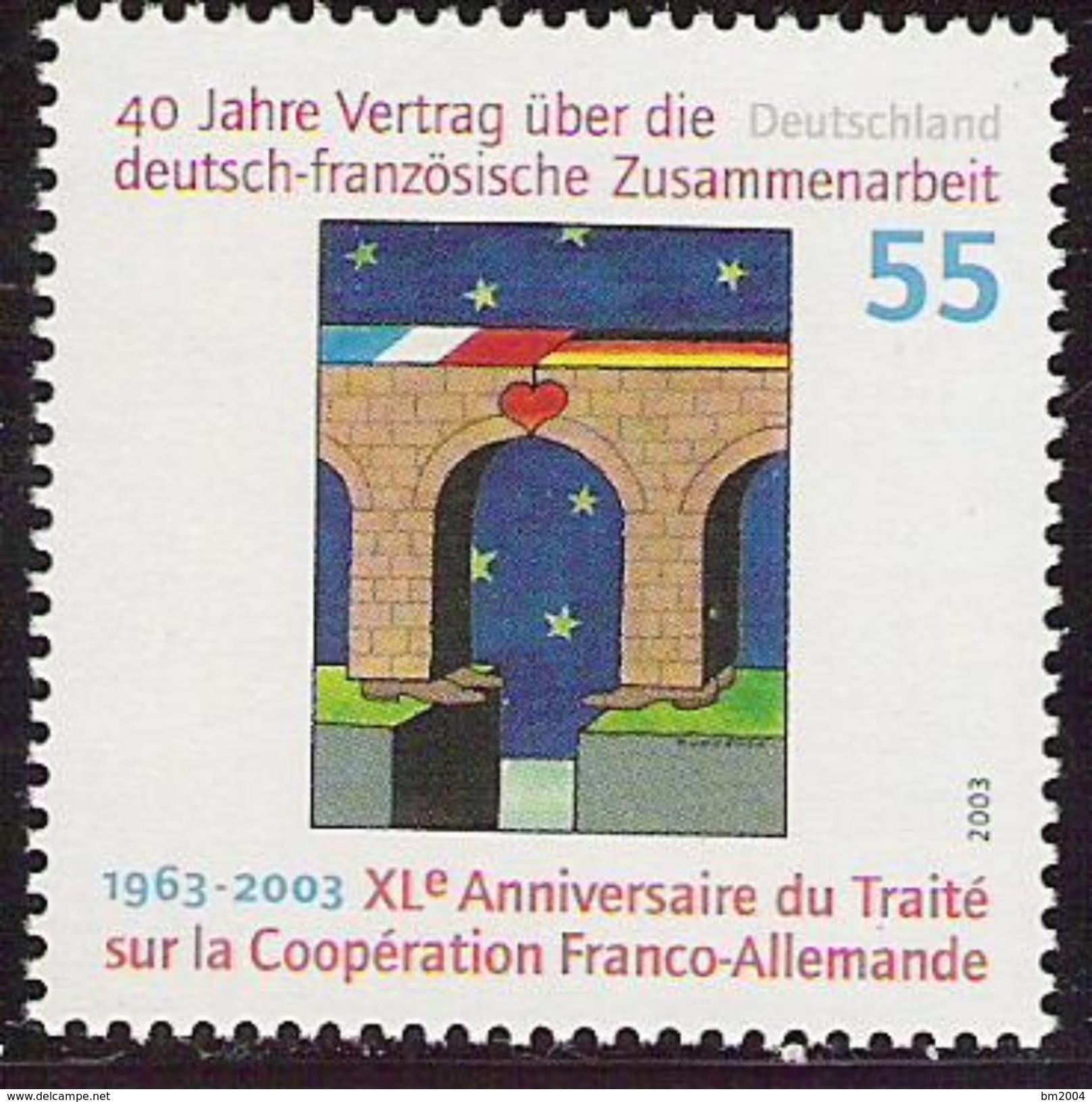 2003 Allem. Fed.  Mi. 2311 **MNH . 40 Jahre Vertrag über Die Deutsch-französische Zusammenarbeit - Idées Européennes
