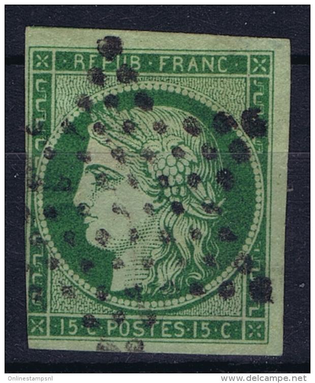 France: Yv Nr 2 B Vert Foncé Obl./Gestempelt/used  Has A Thinspot - 1849-1850 Cérès