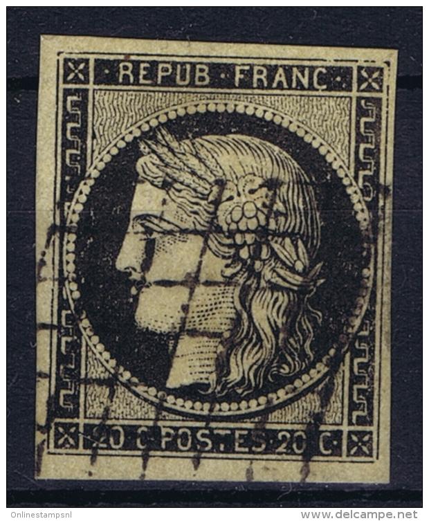 France: Yv Nr 3 B Obl./Gestempelt/used  Grille - 1849-1850 Cérès