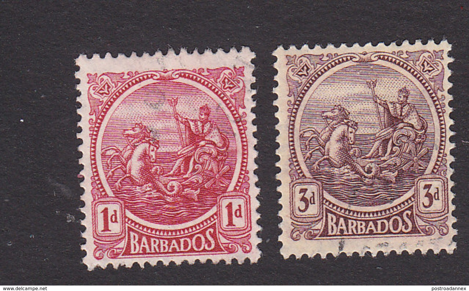 Barbados, Scott #154, 162, Used, Seal Of The Colony, Issued 1921 - Barbados (...-1966)