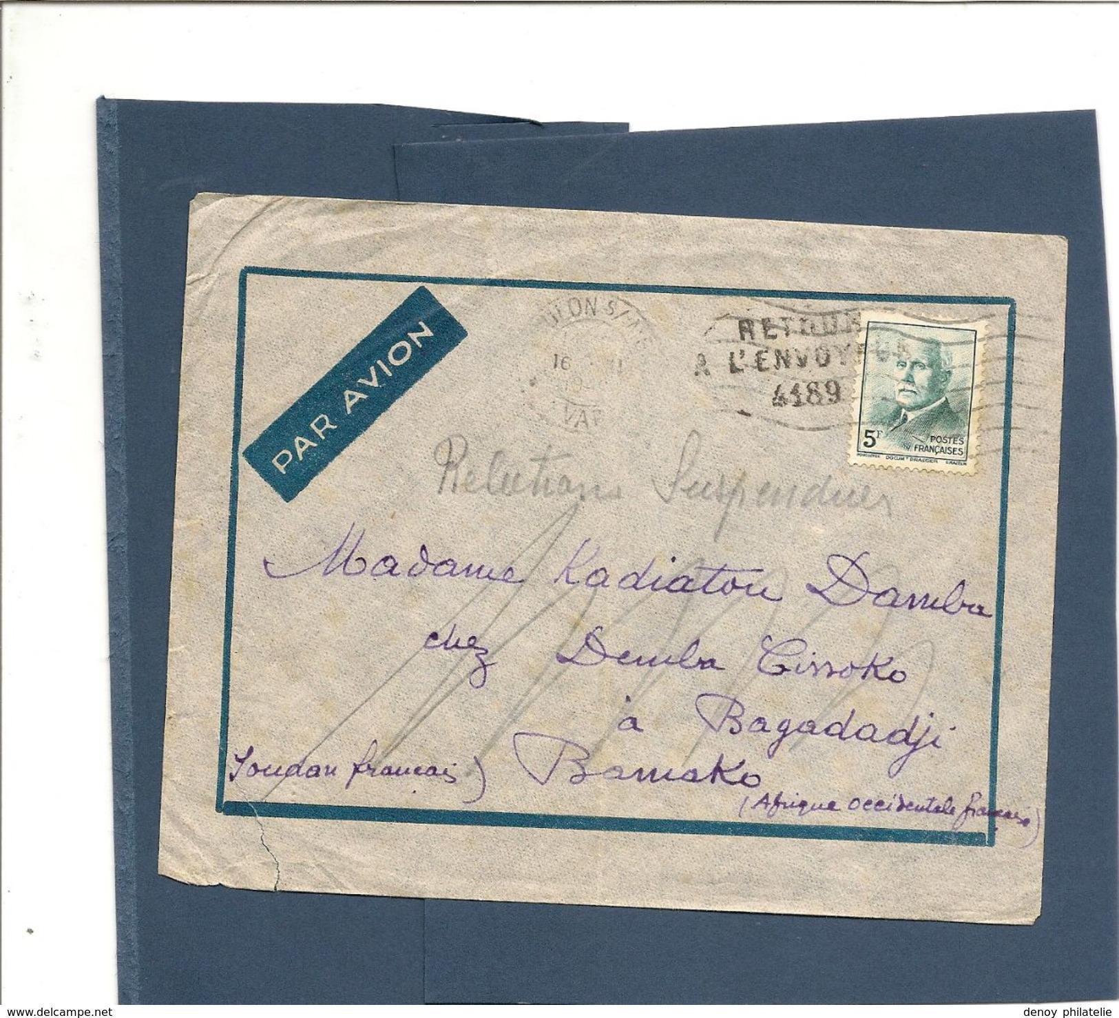 France Lettre N) 524 Seul Sur Lettre Pour Le Soudan , Relations Suspendu Retour A L'envoyeur - Postmark Collection (Covers)