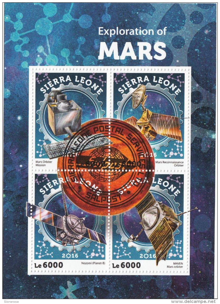 7163 Sierra Leone 2016 Exploration Of Mars Marte  CTO Perforato - Sierra Leone (1961-...)