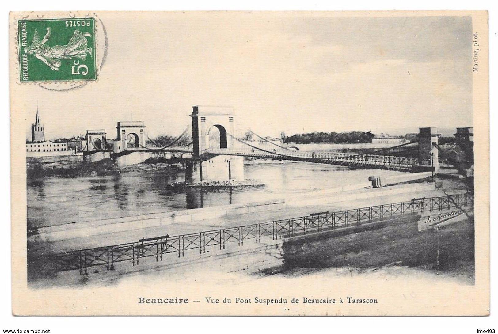 30/13 - Vue Du Pont Suspendu De Beaucaire à Tarascon -  Phot. Martino - Beaucaire