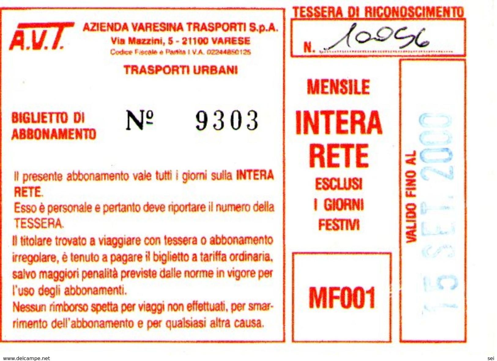 B 1581 -  Varese Trasporti Urbani Biglietto Di Abbonamento AVT Mensile - Season Ticket