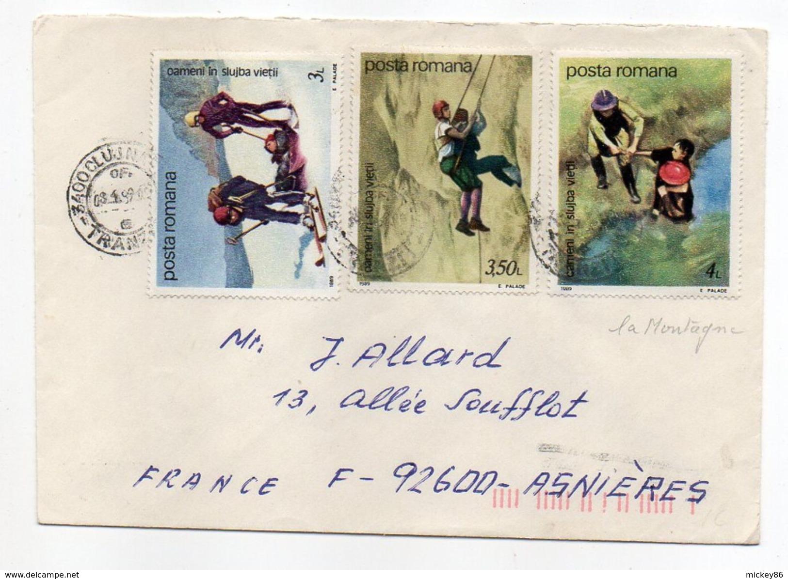 Roumanie--1989--Lettre De CLUJ-NAPOCA  Pour ASNIERES-92 (France)--Composition De Timbres (secours En Montagne)--cachets - 1948-.... Republics