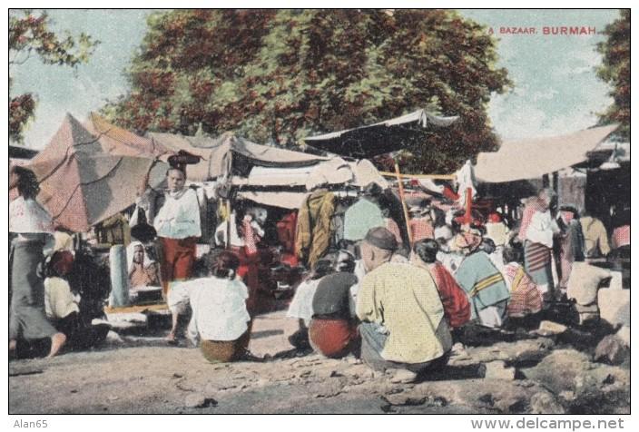Burma Burmah Market Scene, Sent From Three Cocks Wales, C1900s Vintage Postcard - Myanmar (Burma)