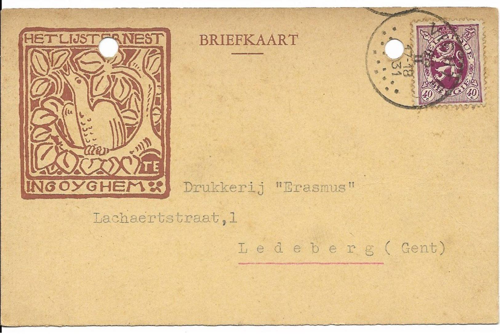 Briefkaart Van 1931 Van STIJN STREUVELS Met Het Lijsternest; Met Archiefgaten - Historische Documenten