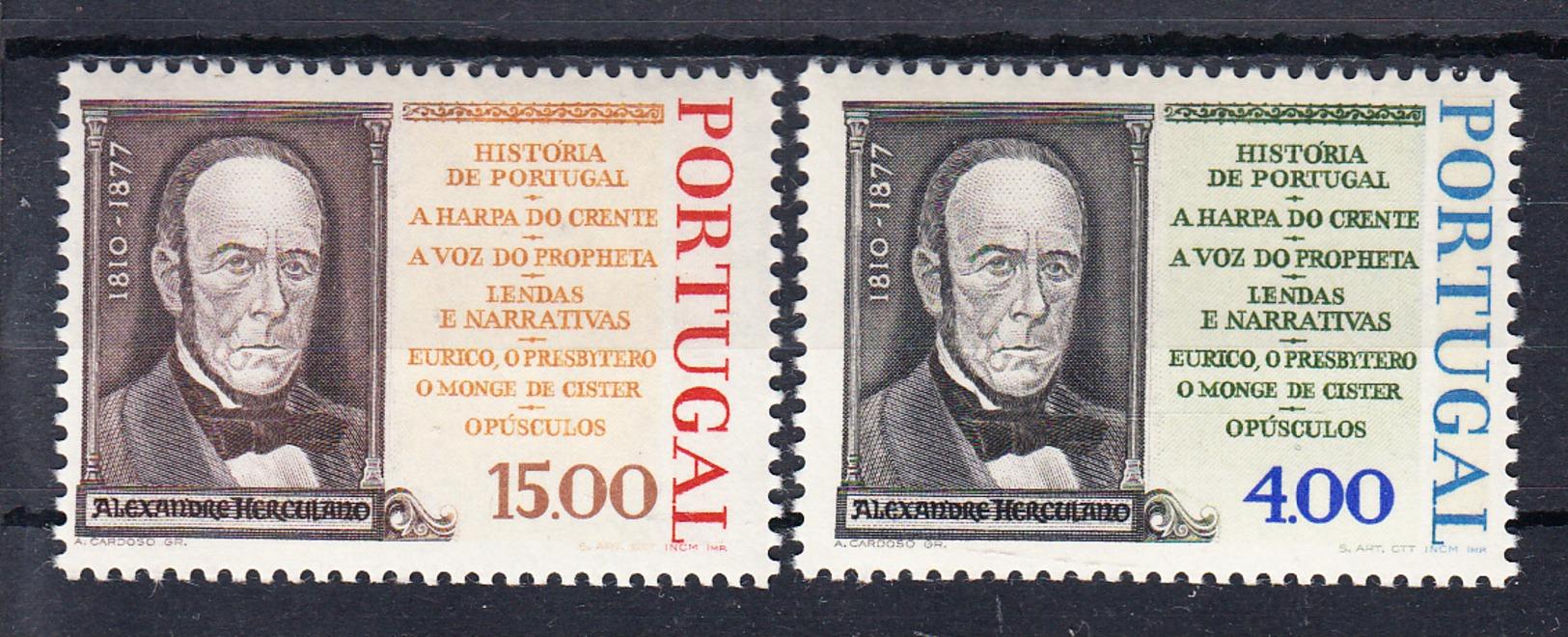 PORTUGAL.1977.CENTENARIO DE ALEXANDRE  HERCULANO  Nº 1344/1345   NOVOS SEM CHARNEIRA .CECI 2 Nº 86 - Nuevos