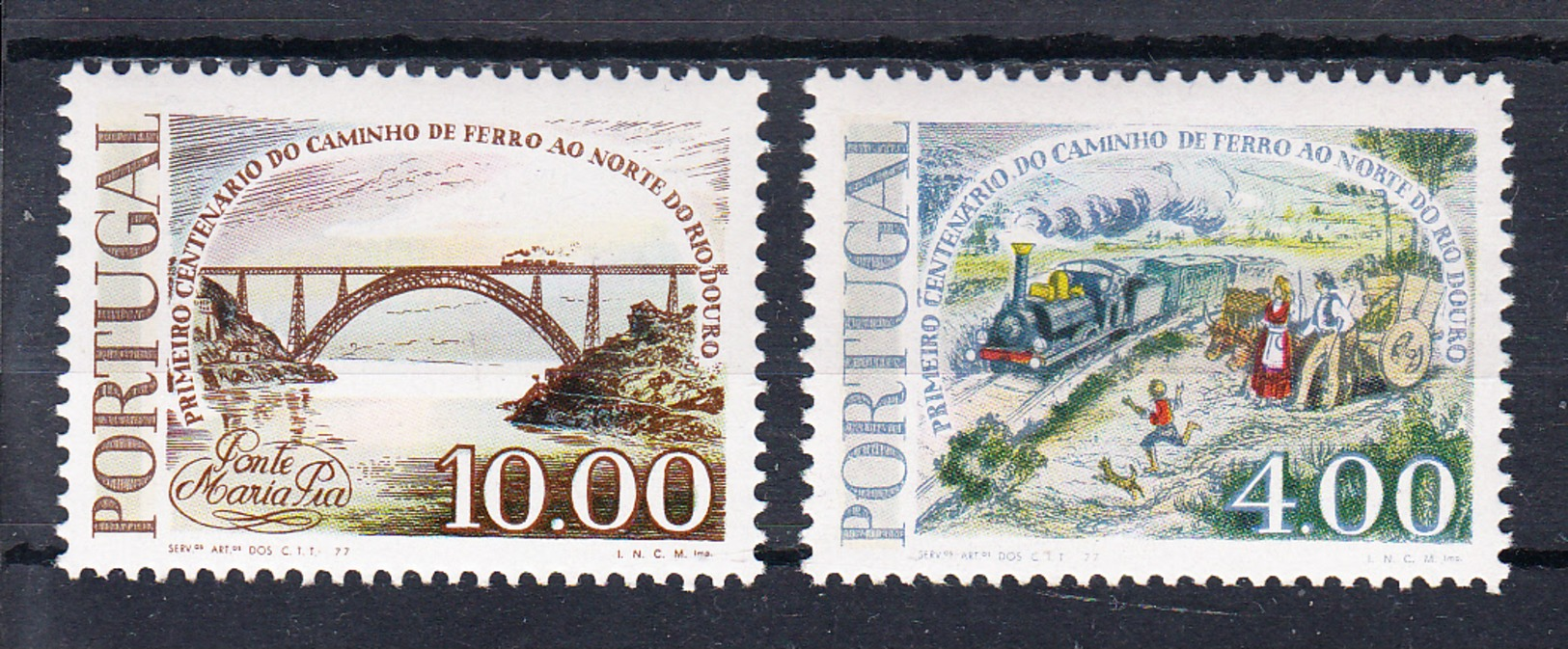 PORTUGAL.1977.CENTENARIO CAMINHO DE FERRO A NORTE DO DOURO   Nº 1346/1347  NOVOS SEM CHARNEIRA .CECI 2 Nº 86 - Nuevos