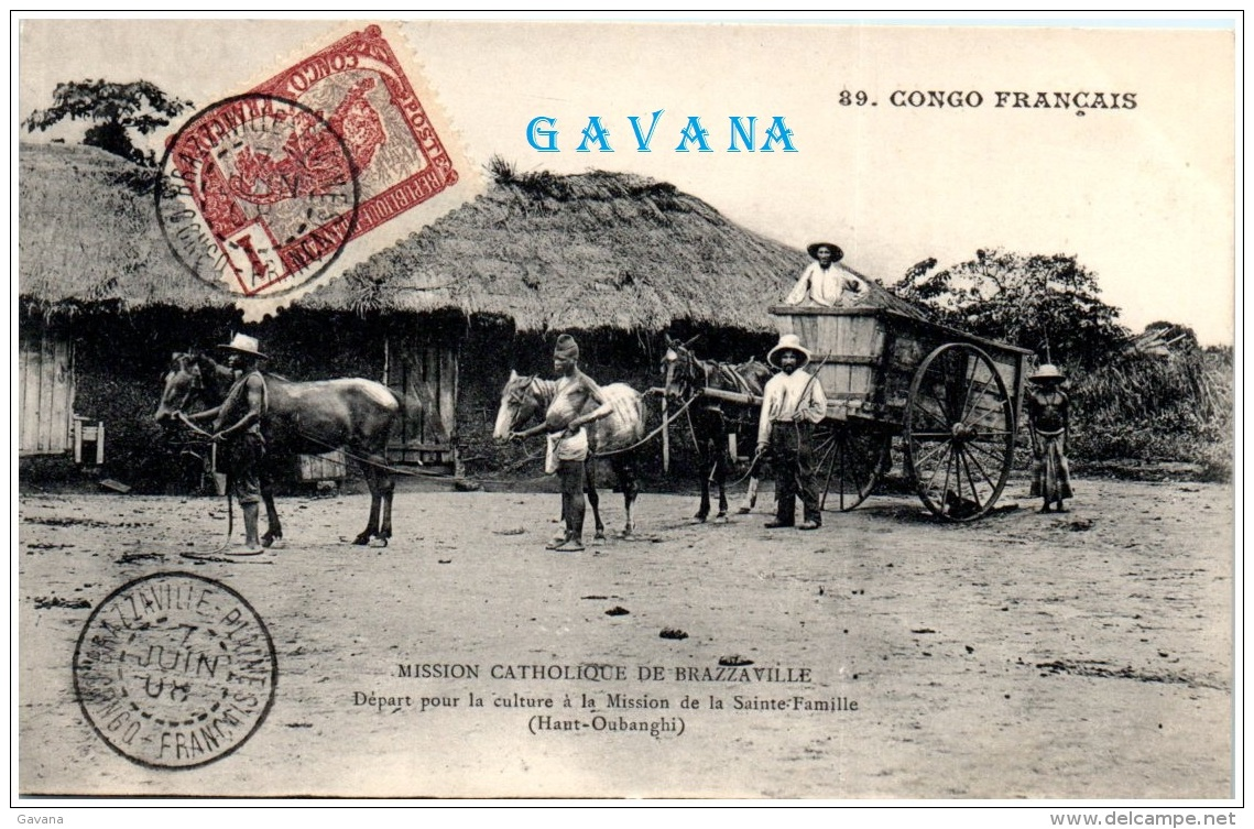 CONGO FRANCAIS Et Dépendances - Misson Catholique De Brazzaville - Départ Pour La Culture à La Mission   (Recto/Verso) - Congo Français - Autres