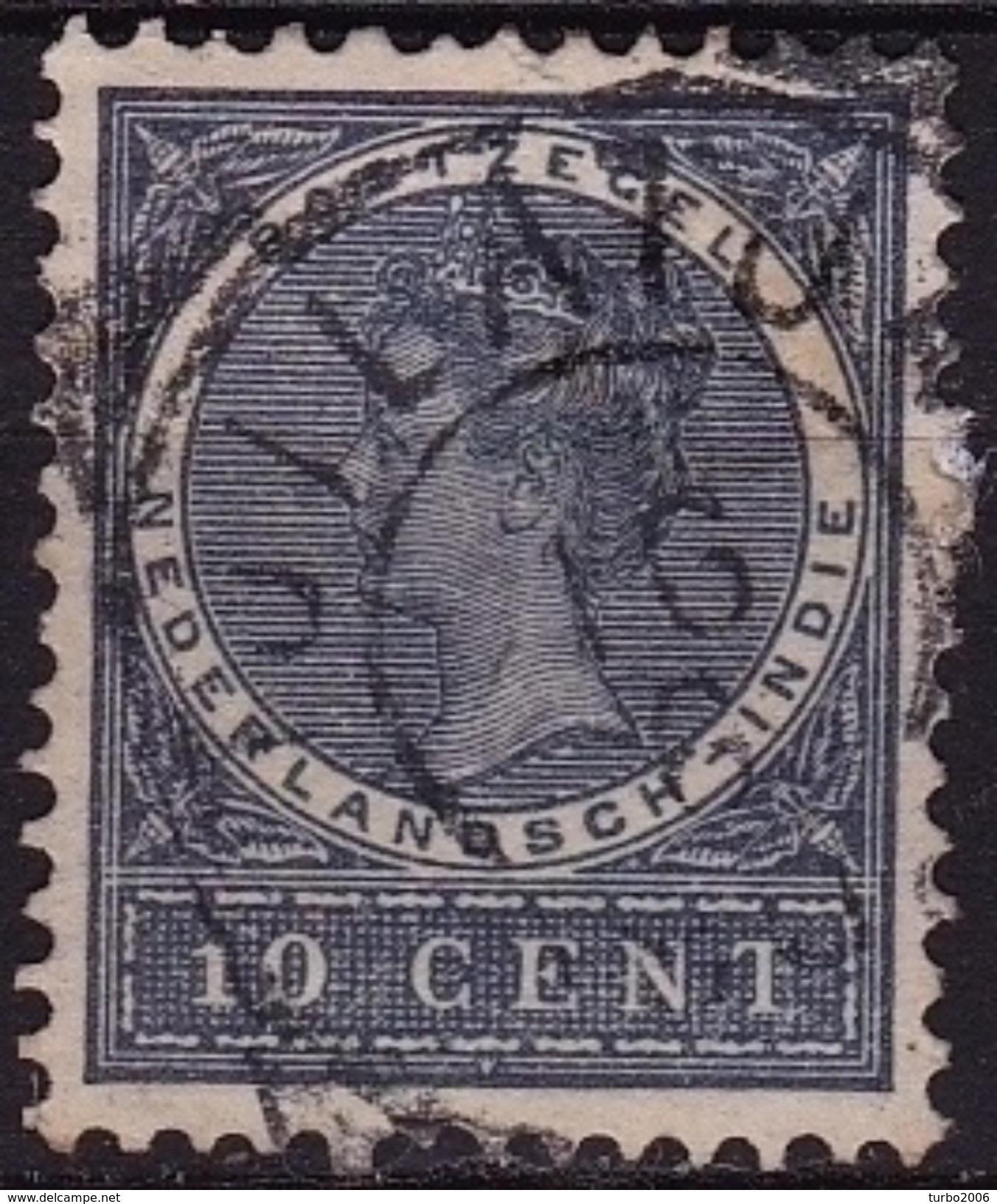 Ned. Indië: TJILATJAP (867) Op 1903-1908 Koningin Wilhelmina 10 Ct Donkergrijs NVPH 48 - Indes Néerlandaises