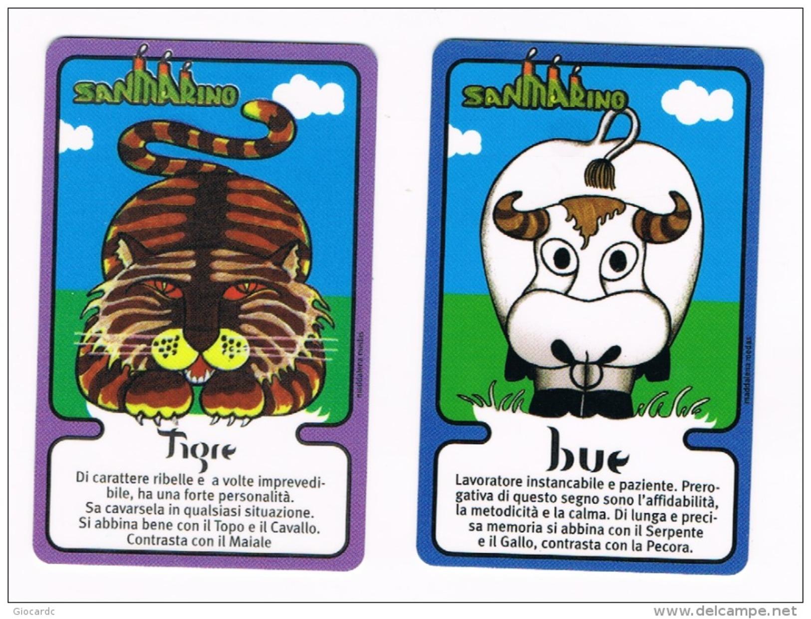 SAN MARINO - CHIP - CHINA HOROSCOPE (ZODIAC)   -  TIGER, OX (2 DIFFERENT USED CARDS OF THE SET) - - San Marino