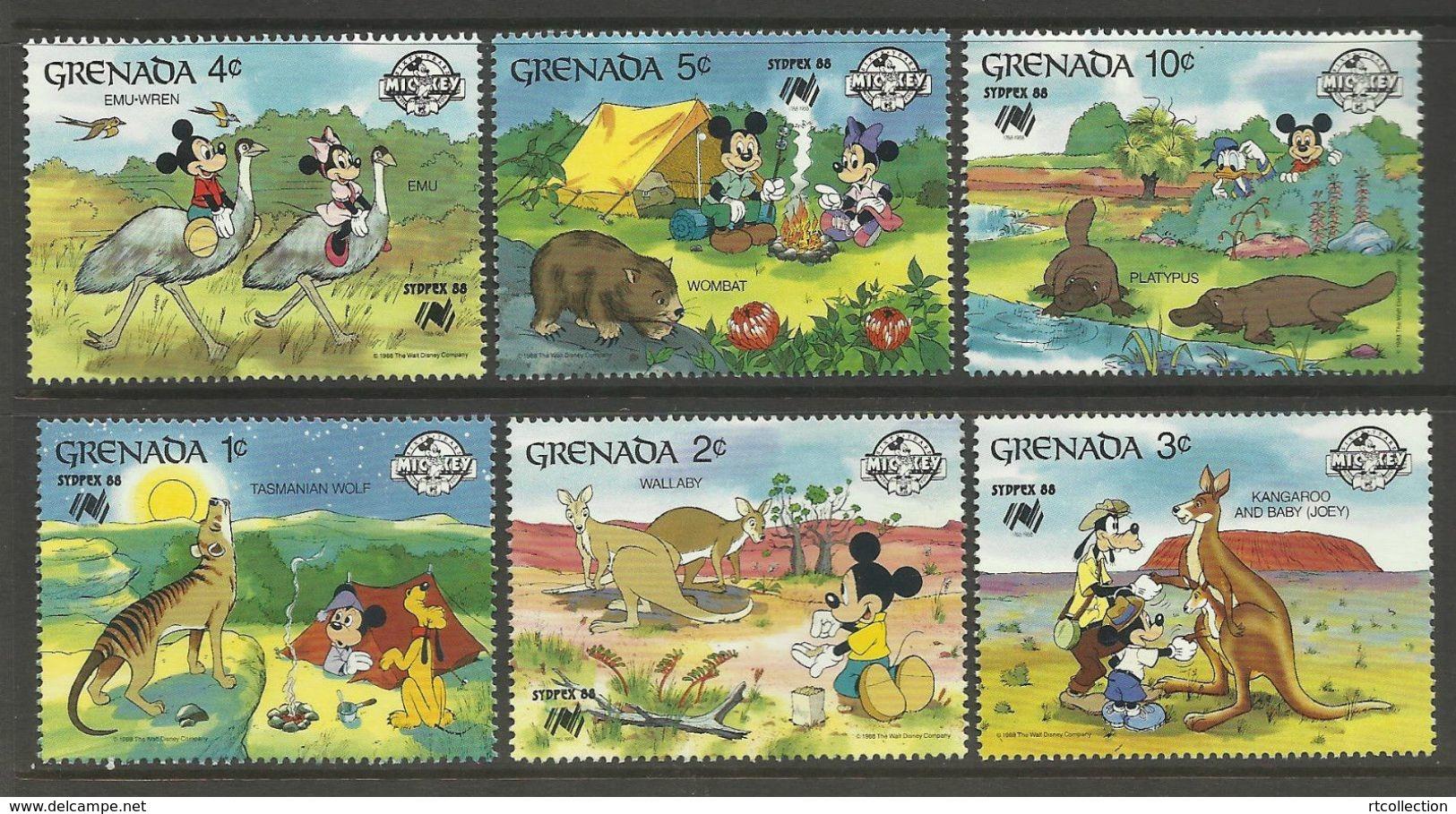 Grenada 1988 Sydpex Disney Mickey Cartoon Animation Animals Fauna Kangaroo Birds Ostriches Stamps (12) MNH SG 998-1005 - Disney