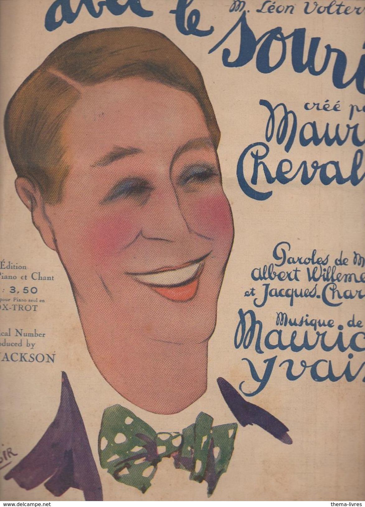 Partition Grand Format  :Avec Le Sourire (caricature De Maurice Chevalier Per Ch. Gir) 1921 (MPA D 030) - Partitions Musicales Anciennes