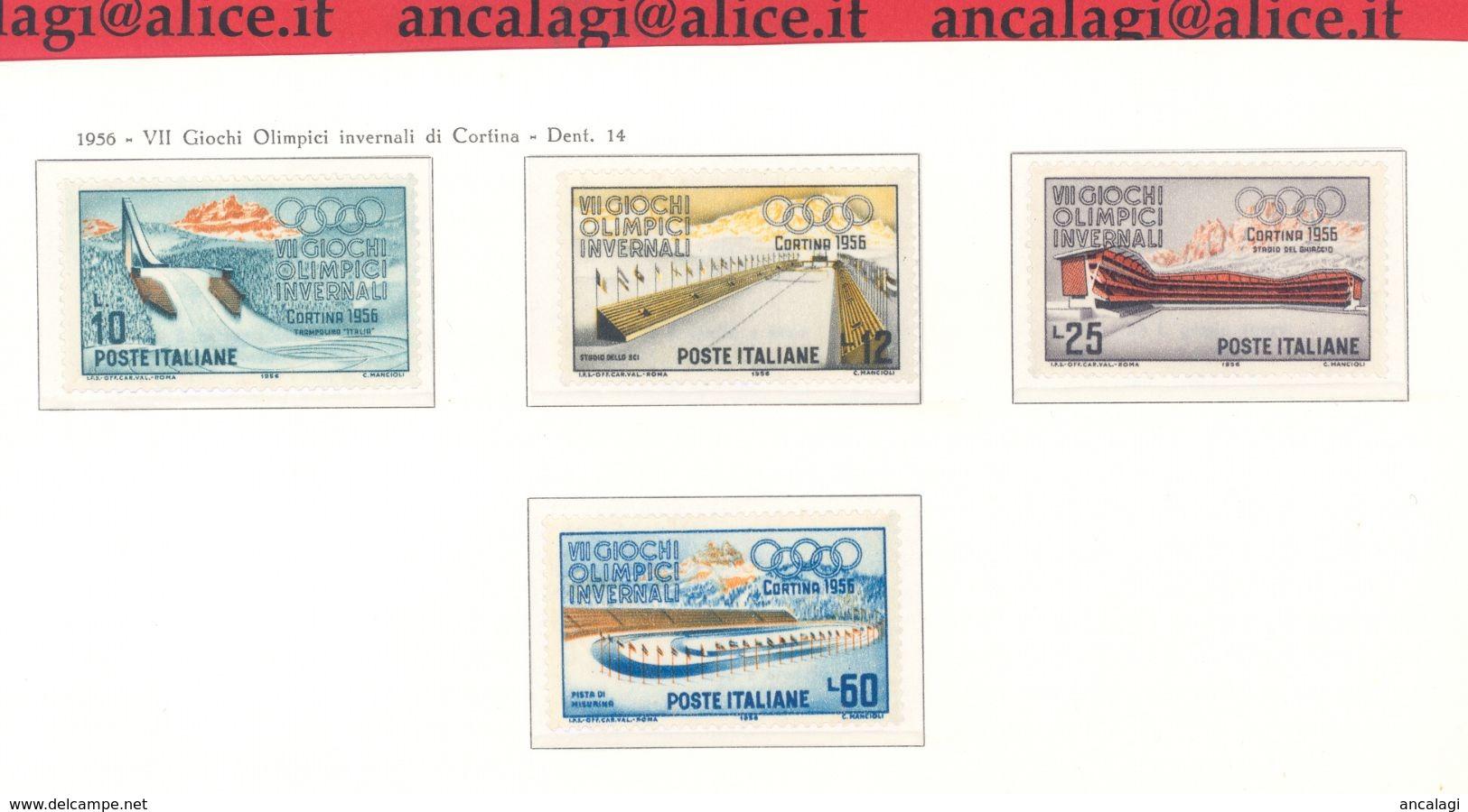 """FL3205 - REPUBBLICA - """"Giochi Olimpici Invernali Di Cortina"""" Serie Di 4 Valori Nuovi**, 1956 - 1946-60: Nuevos"""