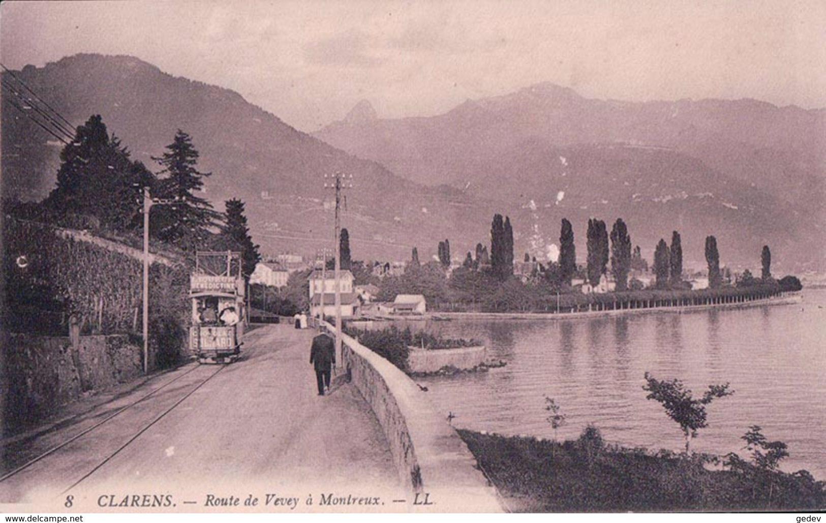 Clarens, Route Vevey - Montreux Tramway Avec Publicité BENEDICTINE Et Chocolat SUCHARD (8) - VD Vaud