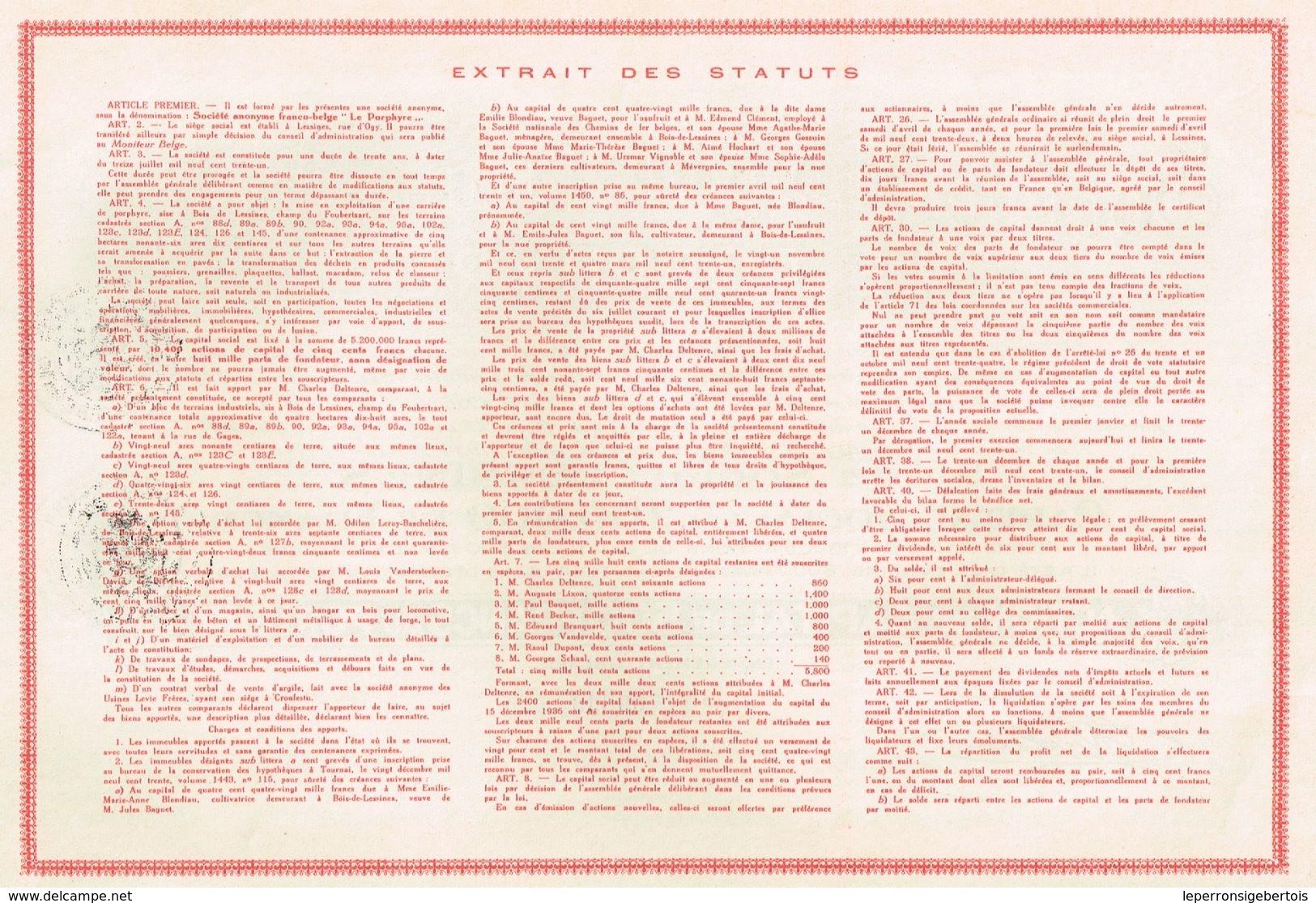 """Ancienne Action - Sté Anonyme Franco Belge """" Le Porphyre"""" - Titre De 1931 - - Industrie"""