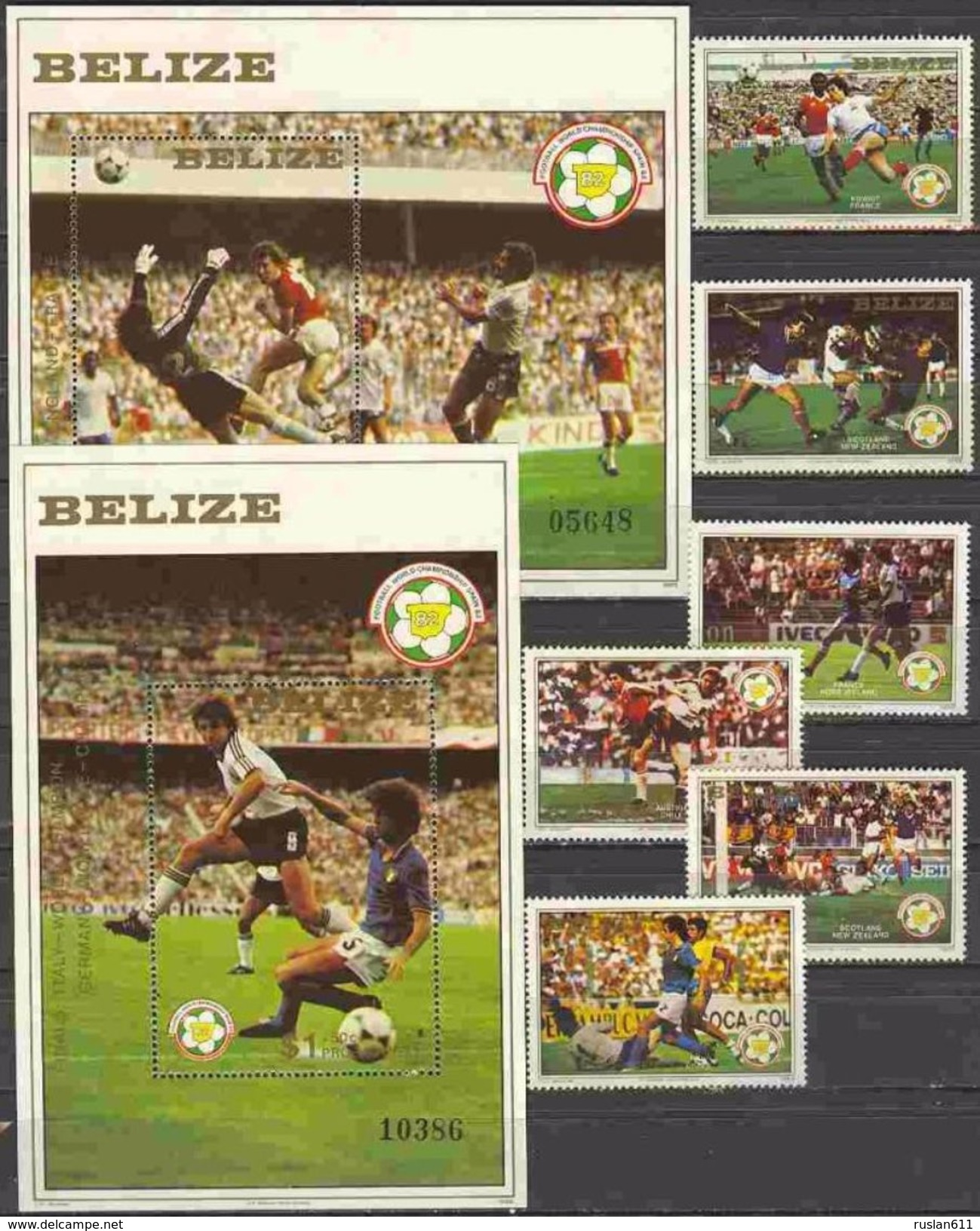 Soccer Football Belize #688/93 + Bl 55/6 1982 World Cup Spain MNH ** - 1982 – Espagne