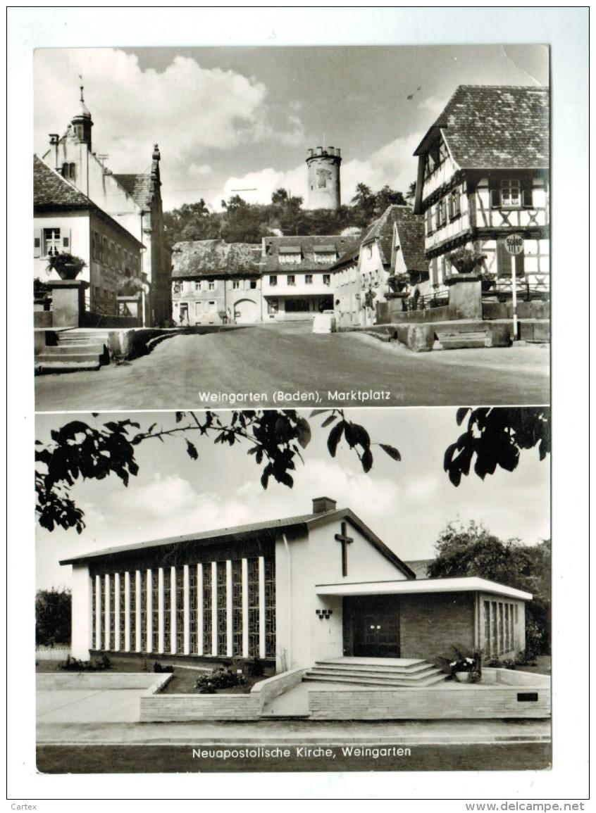 18478  CPM  WEINGARTEN  , Marktplatz  , Neuapostolische  Kirche  , Carte Photo Double Vues ! - Otros