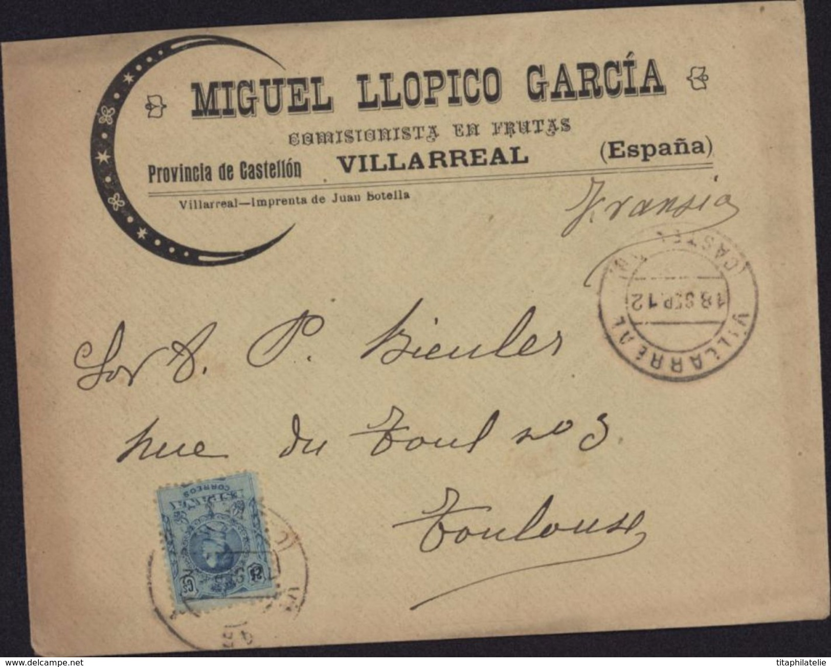 Enveloppe Illustrée Miguel Llopico Garcia Comisionista En Frutas Villarreal Espana Castellon YT 248 18 Sept 12 - 1889-1931 Royaume: Alphonse XIII