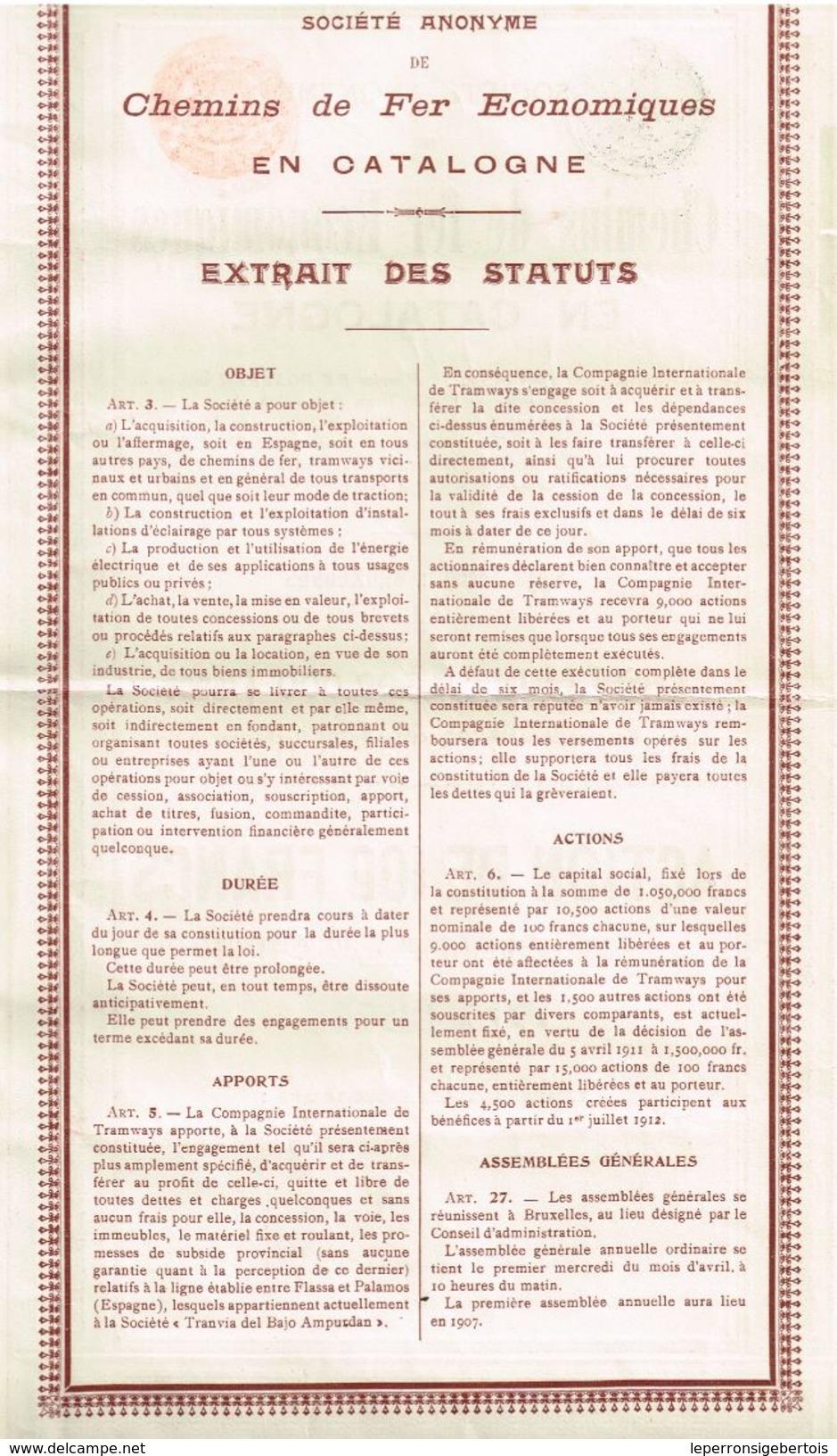 Action Ancienne - Sté Anonyme Des Chemins De Fer Economiques En Catalogne -Titre De 1912 - Chemin De Fer & Tramway