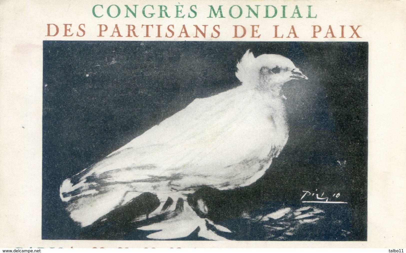Affiche  De Picasso - Colombe - Congré Mondial Des Partisans De La Paix - Paris - Salle Pleyel - Eventos