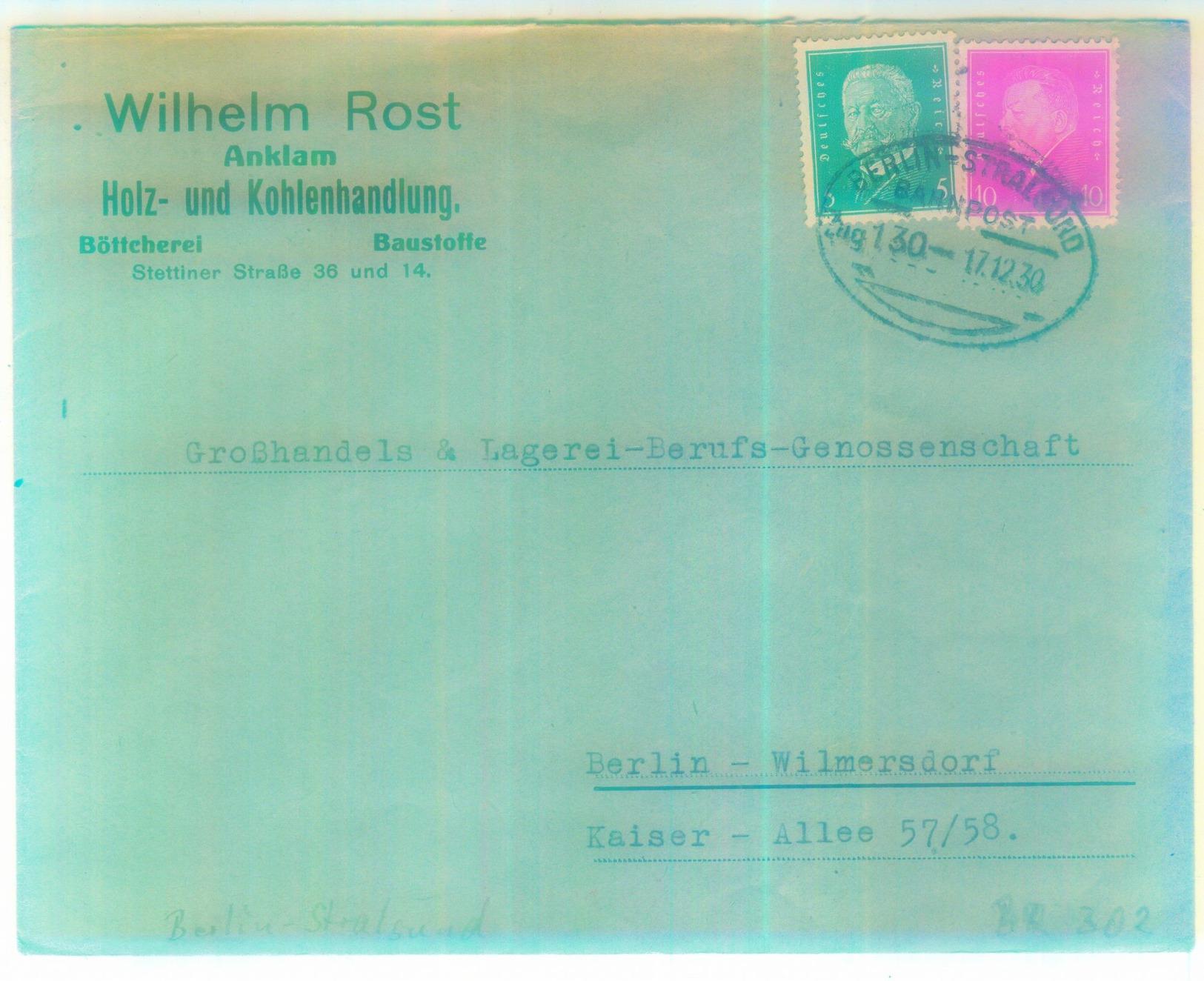 """Bahnpoststempel """"BERLIN-STRALSUND"""" 1930 Fernbrief Aus Anclam - Deutschland"""