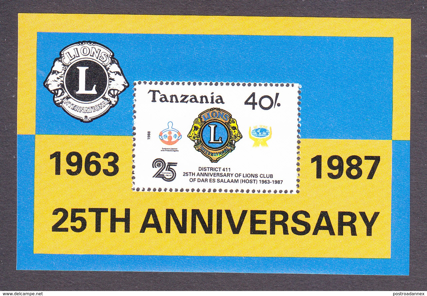 Tanzania, Scott #460, Mint Never Hinged, 25th Anniversary Of The Lions Club, Issued 1988 - Tanzanie (1964-...)