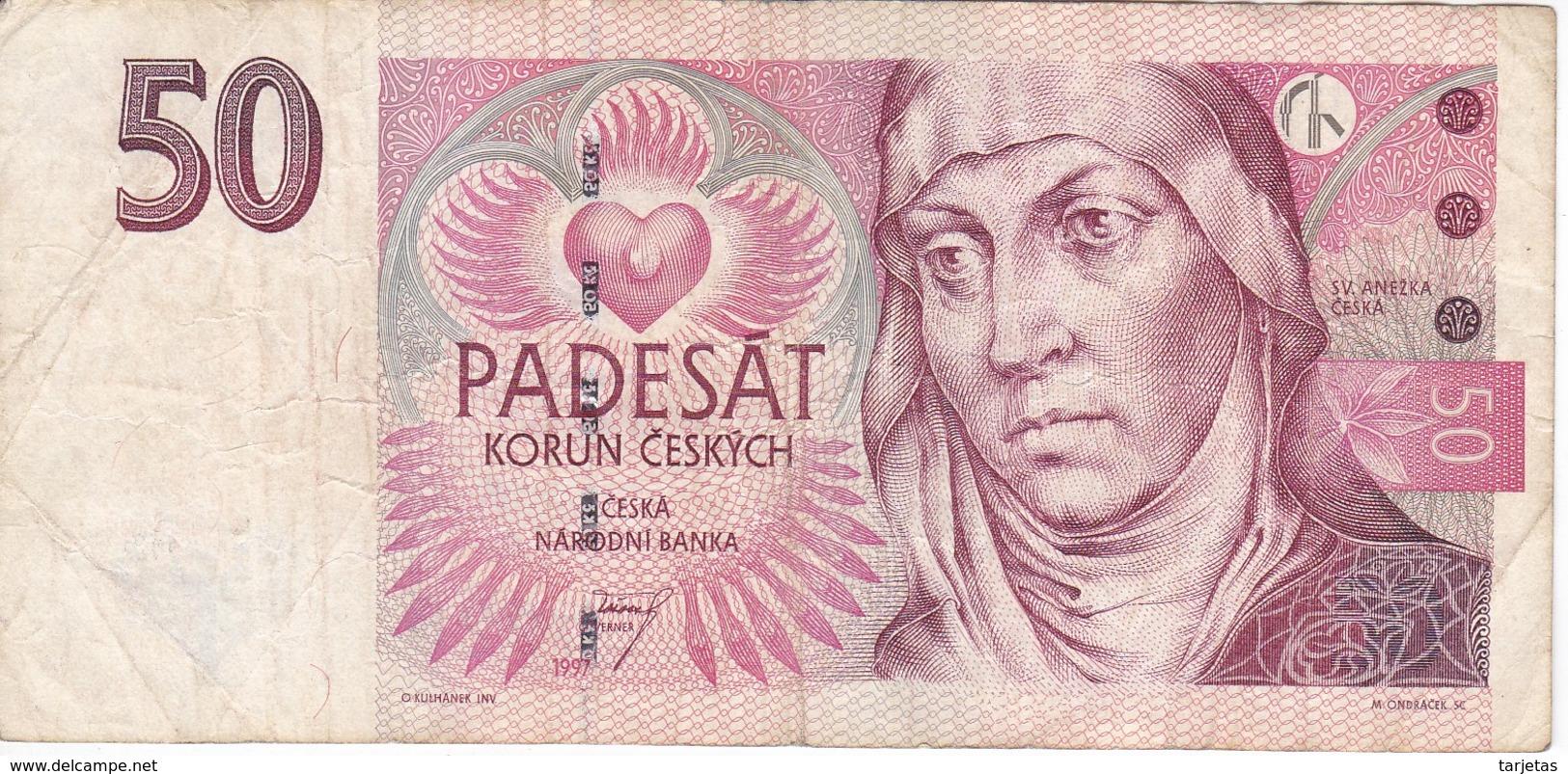 BILLETE DE LA REPUBLICA CHECA DE 50 KORUN DEL AÑO 1997  (BANKNOTE) - República Checa
