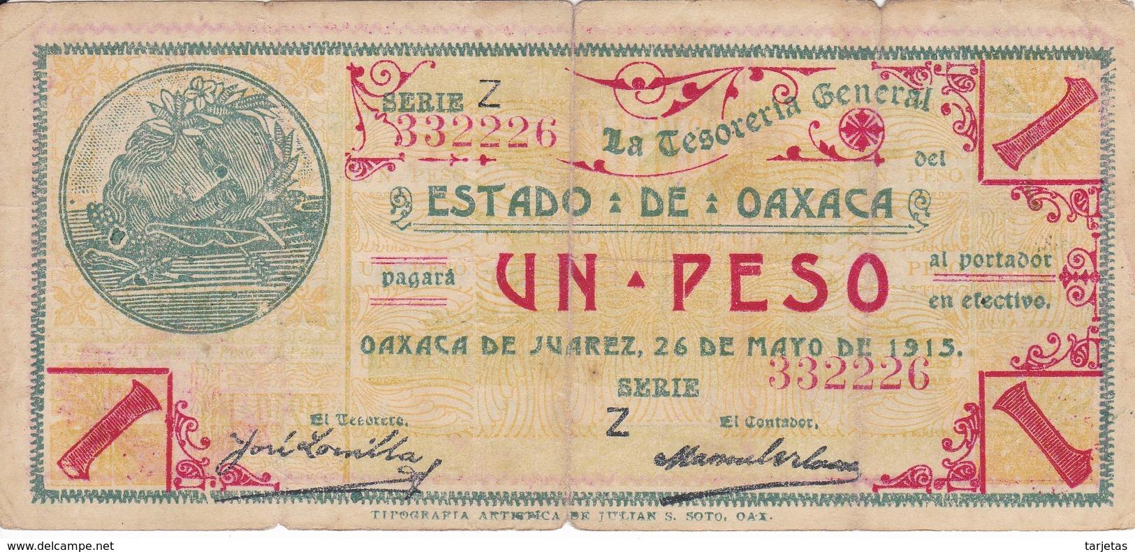 BILLETE DE MEXICO DE 1 PESO DEL ESTADO DE OAXACA DEL 24 DE MAYO DE 1915   (BANKNOTE) RARO - México