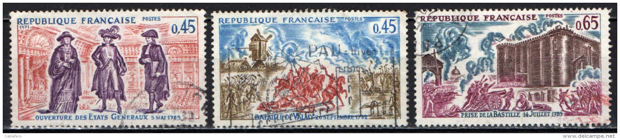FRANCIA - 1971 - STORIA DI FRANCIA: STATI GENERALI, BATTAGLIA DI VALMY, PRESA DELLA BASTIGLIA - USATI - Oblitérés