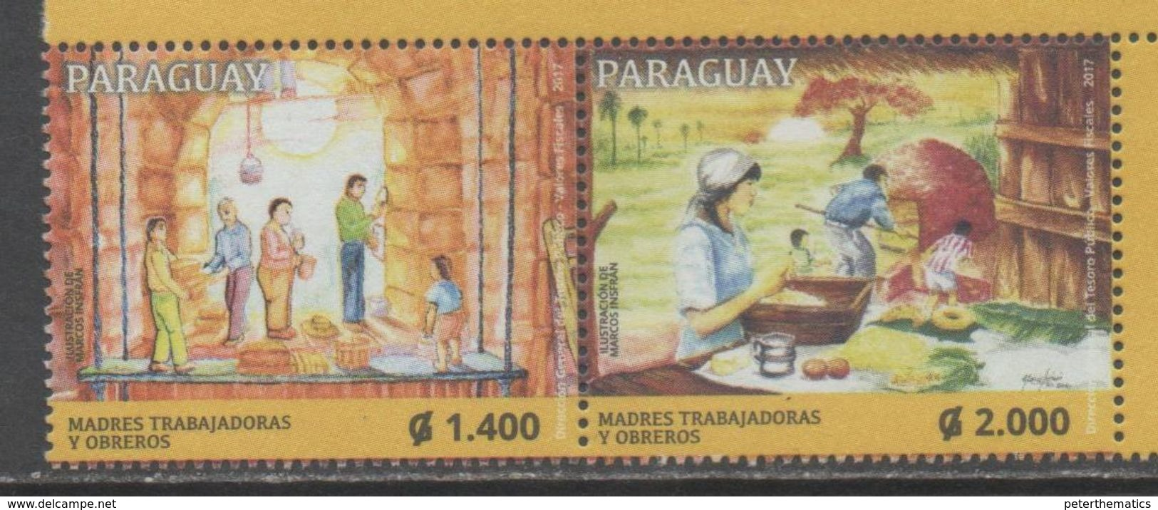 PARAGUAY, 2017, MNH, WORKERS DAY, 2v - Jobs