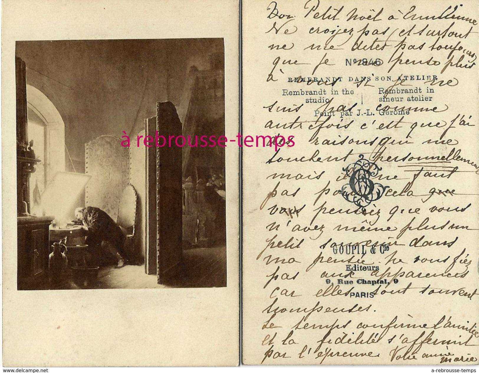 CDV Historique-Le Peintre Rembrandt Dans Son Atelier- Peint Par Gerome-photo Goupil à Paris- - Photos
